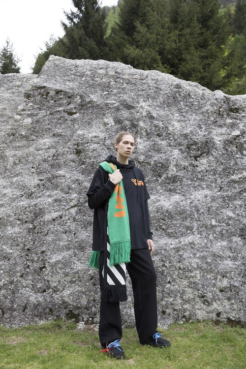 Off-White Men's Resort 2019 Impressionism Collection Sweater Pants Scarf Black Green