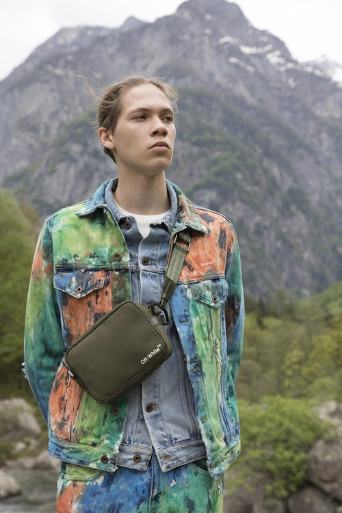 Off-White Men's Resort 2019 Impressionism Collection Flower Shirt Cross-Body Bag Green Orange