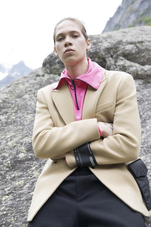 Off-White Men's Resort 2019 Impressionism Collection Jacket Collared Shirt Khaki Pink