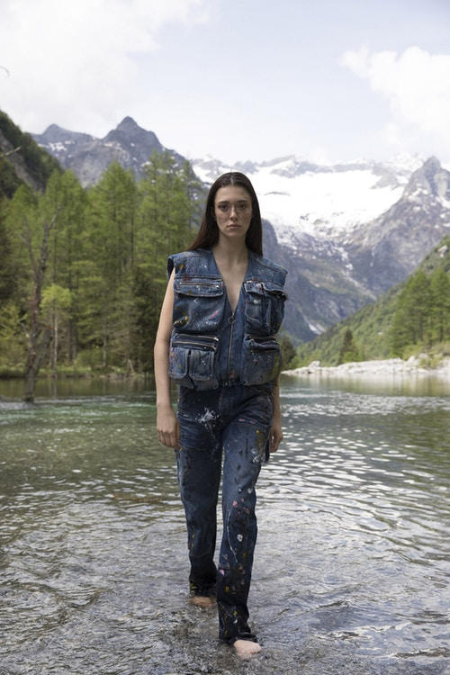Off-White Men's Resort 2019 Impressionism Collection Denim Vest Pants Blue