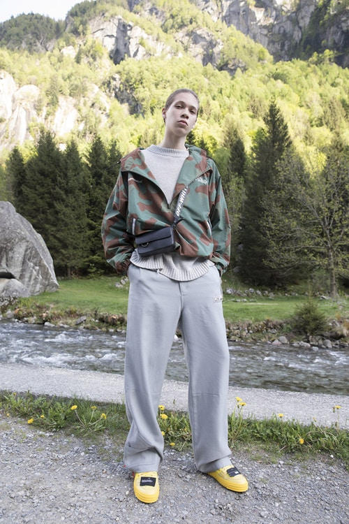 Off-White Men's Resort 2019 Impressionism Collection Jacket Sweatpants Slides Camouflage Grey Yellow