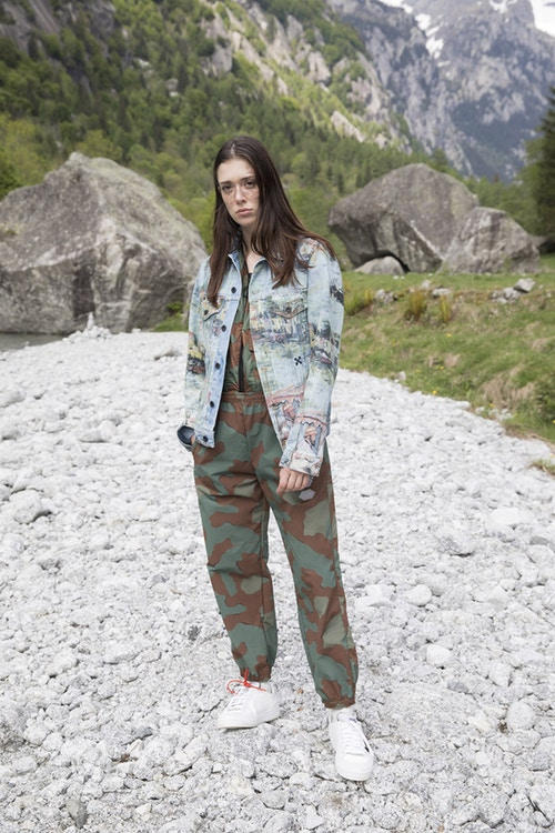 Off-White Men's Resort 2019 Impressionism Collection Jacket Pants Blue Camouflage