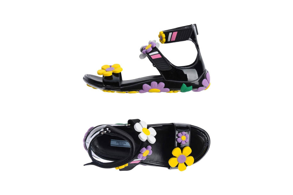 Prada Flower Sandals Black