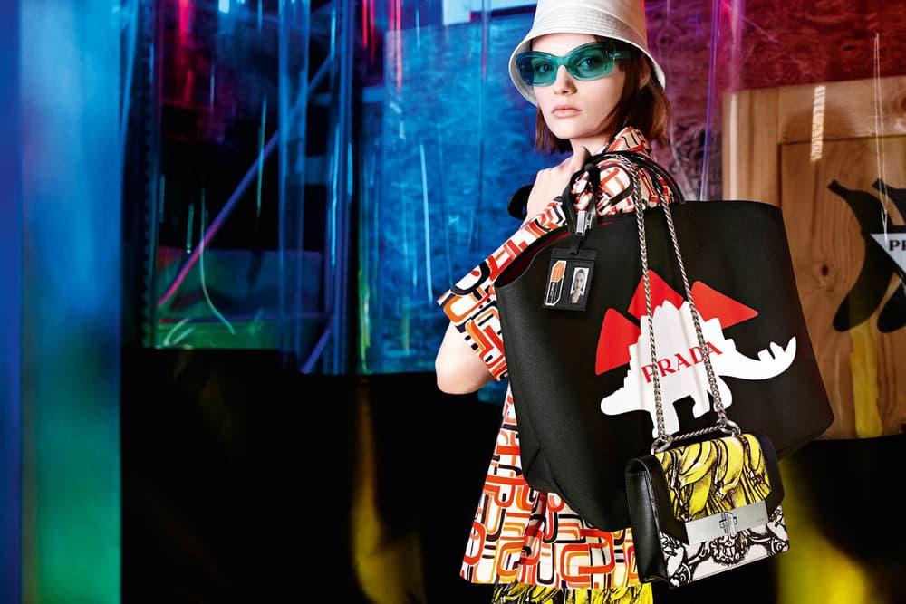 Prada Pre-Fall 18 Campaign by Willy Vanderperre Miuccia Prada Collection Rainbow Utalitarian Color Texture Retro Future
