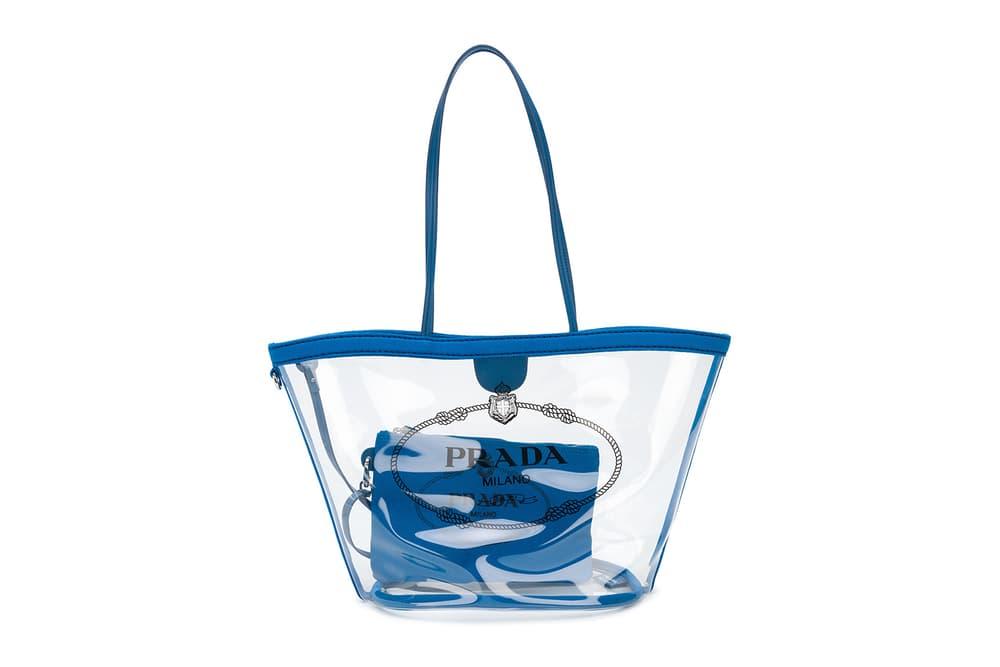 Prada PVC Transparent Tote Bag Blue Black Red