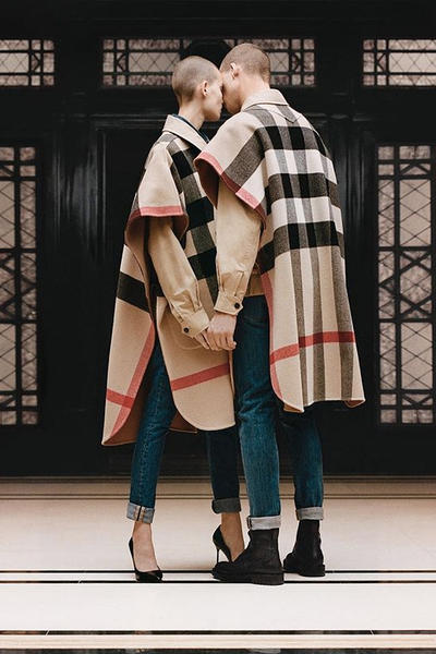 riccardo tisci burberry spring summer 2019 pre collection teaser wool cape check pattern plaid