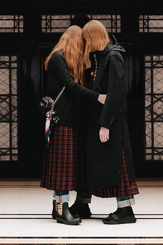 riccardo tisci burberry spring summer 2019 pre collection teaser kilt wool red black outerwear