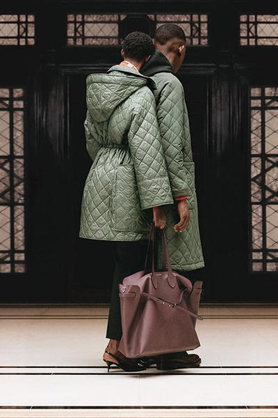 riccardo tisci burberry spring summer 2019 pre collection teaser quilted jackets green maroon belt bag oversize