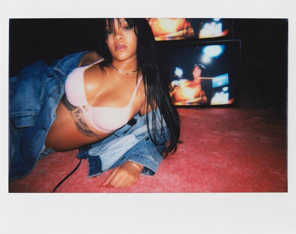 Rihanna Lingerie Brand Savage x Fenty Pink Bra Denim Jacket Polaroid