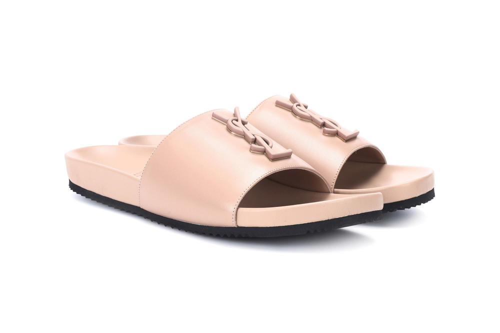 Saint Laurent Joan 05 Leather Slide Nude Pink