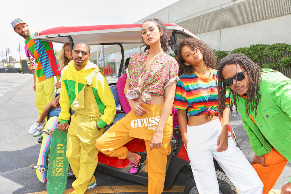 Sean Wotherspoon x GUESS Jeans U.S.A. Farmers Market Collection Lookbook Overalls Hoodie Striped Shirt Yellow Orange Red Black Green