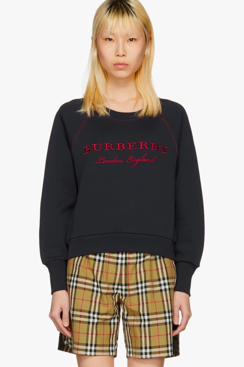 Burberry Navy Blue Sweater Crewneck Sweatshirt Red SSENSE Sale