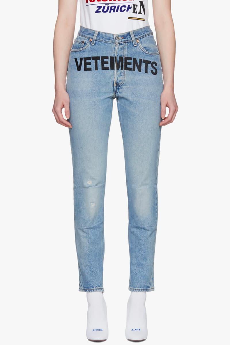 Vetements Levi's Jeans Denim SSENSE Sale