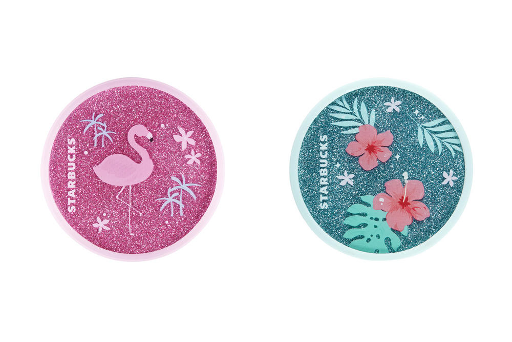 Starbucks Korea Glitter Pink Flamingo and Blue Hibiscus Coaster Summer 2018