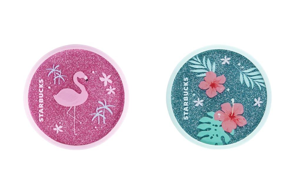Starbucks Korea Glitter Pink Flamingo and Blue Hibiscus Coaster Summer 2018