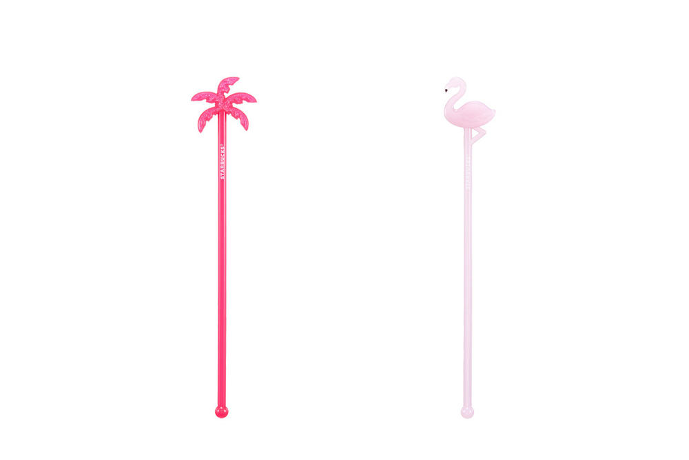 Starbucks Korea Pink Palm Tree and Flamingo Muddler Stirrer Summer 2018