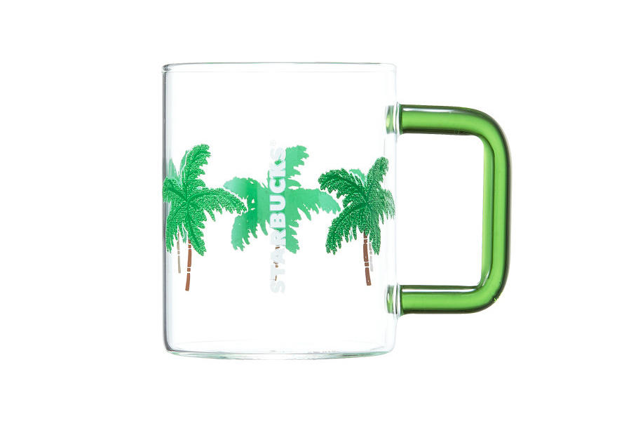 Starbucks Korea Green Palm Tree Glass Cup Summer 2018