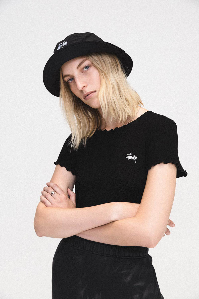 fcfecde4049 Stussy Women Summer 2018 Lookbook Black Shirt Logo Bucket Hat