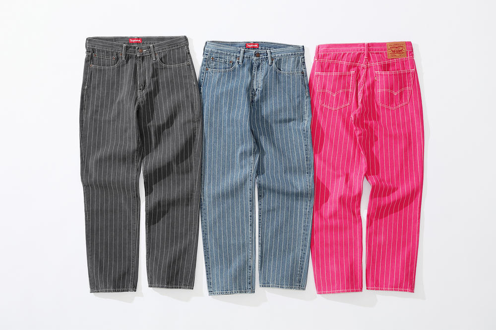 supreme levi's spring 2018 denim collection black pink dark grey blue white pinstripe stonewashed 550 jeans