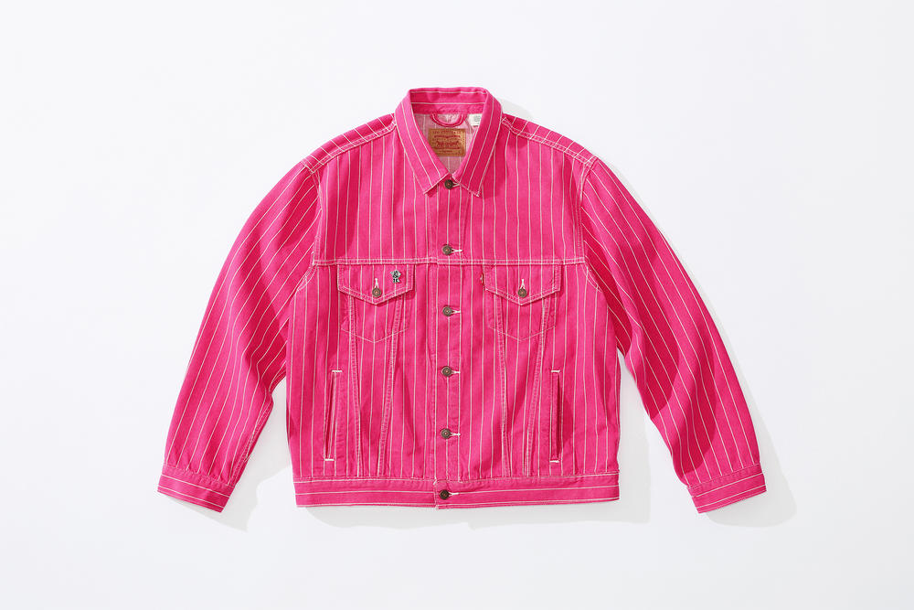supreme levi's spring 2018 denim collection pink white pinstripe denim jacket stonewashed