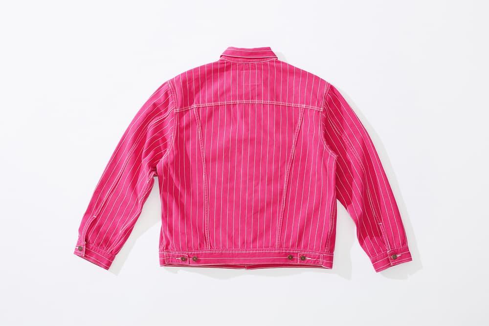 supreme levi's spring 2018 denim collection pink white pinstripe denim jacket stonewashed reverse back