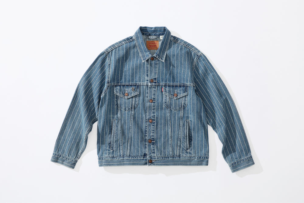 supreme levi's spring 2018 denim collection blue white pinstripe denim jacket stonewashed