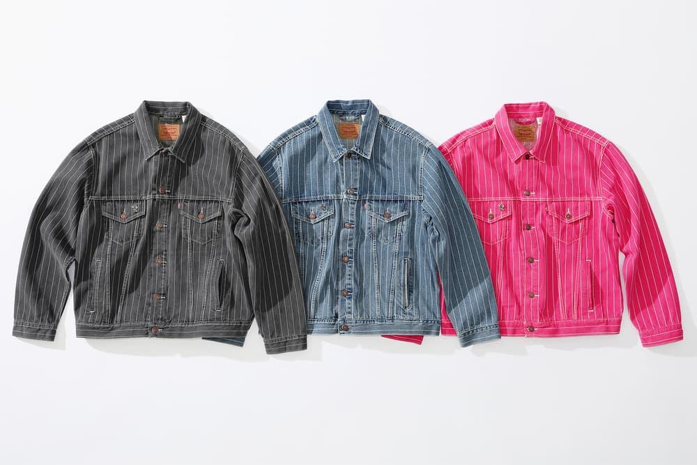 supreme levi's spring 2018 denim collection pink black dark grey blue white pinstripe denim jacket stonewashed