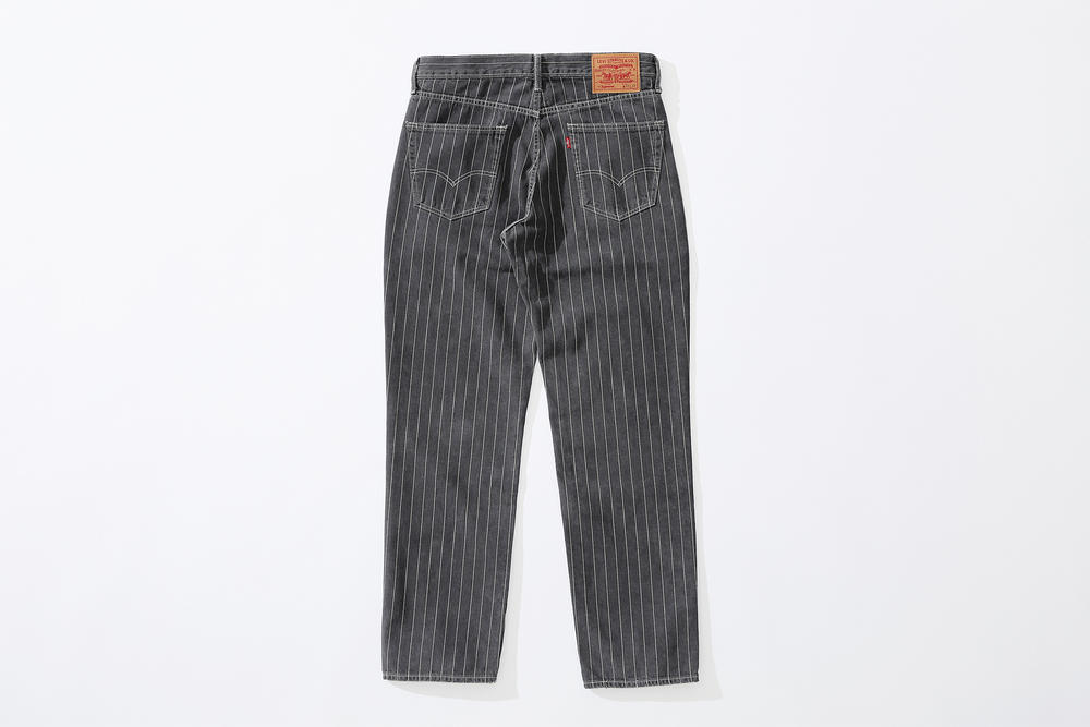 supreme levi's spring 2018 denim collection black white pinstripe stonewashed 550 jeans
