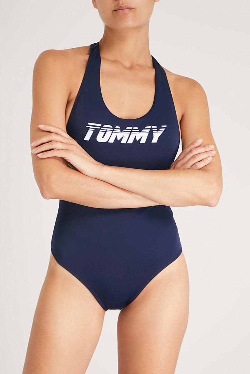 Gigi Hadid x Tommy Hilfiger Logo Swimsuit Navy Blazer