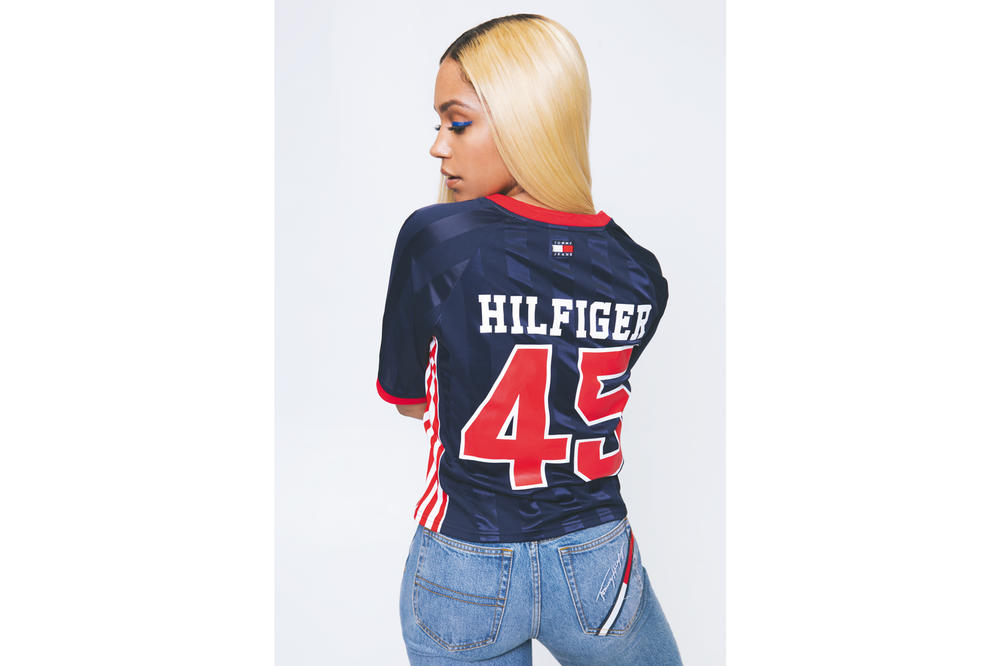 540d5cda 5 of 8. Tommy Hilfiger. Tommy Jeans Spring 2018 Capsule Collection Campaign Soccer  T-Shirt Blue Red