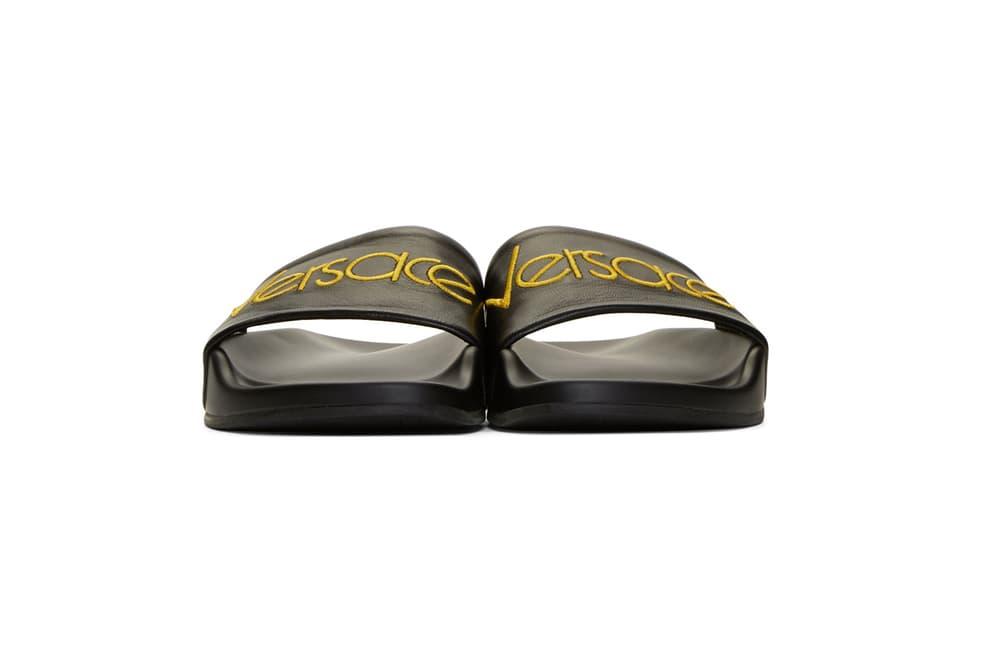 versace black logo tribute slides leather yellow medusa