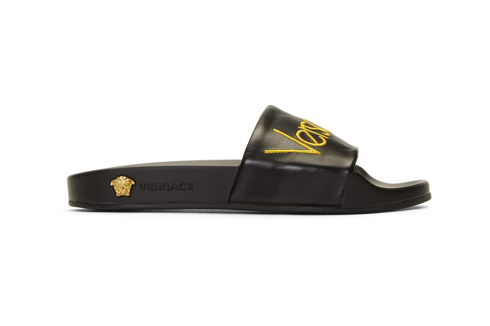 versace black logo tribute slides leather yellow medusa gold hardware rubber sole