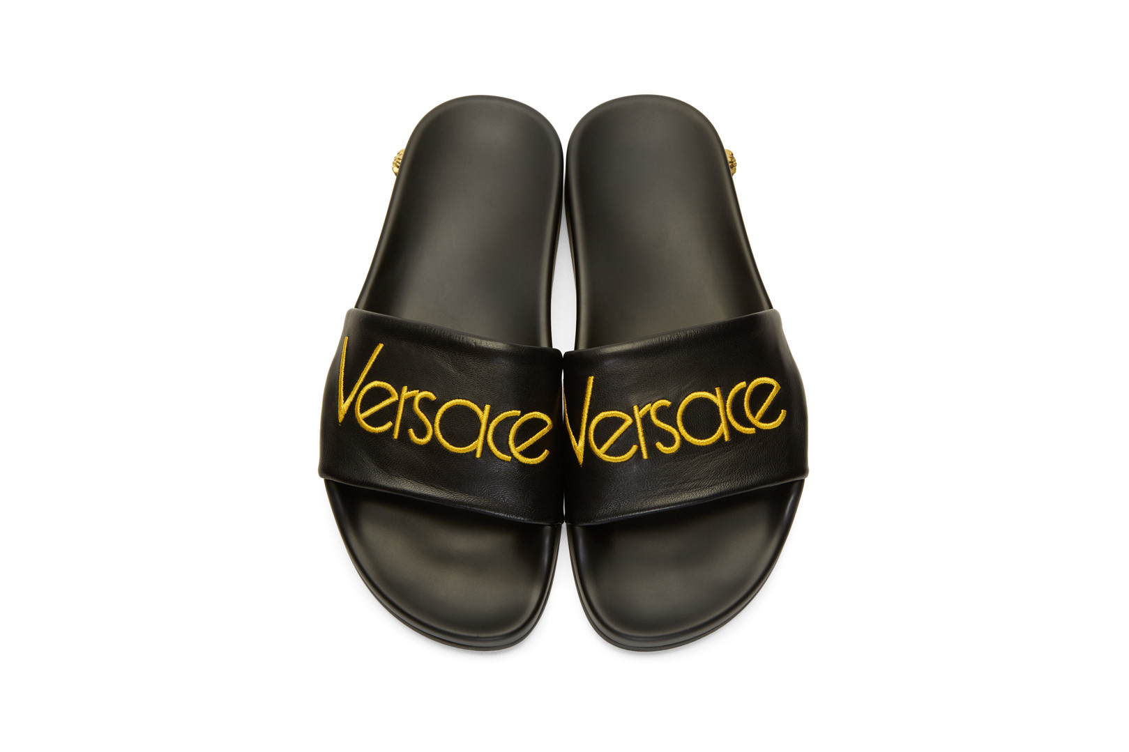 Versace Black Logo Tribute Slides | HYPEBAE