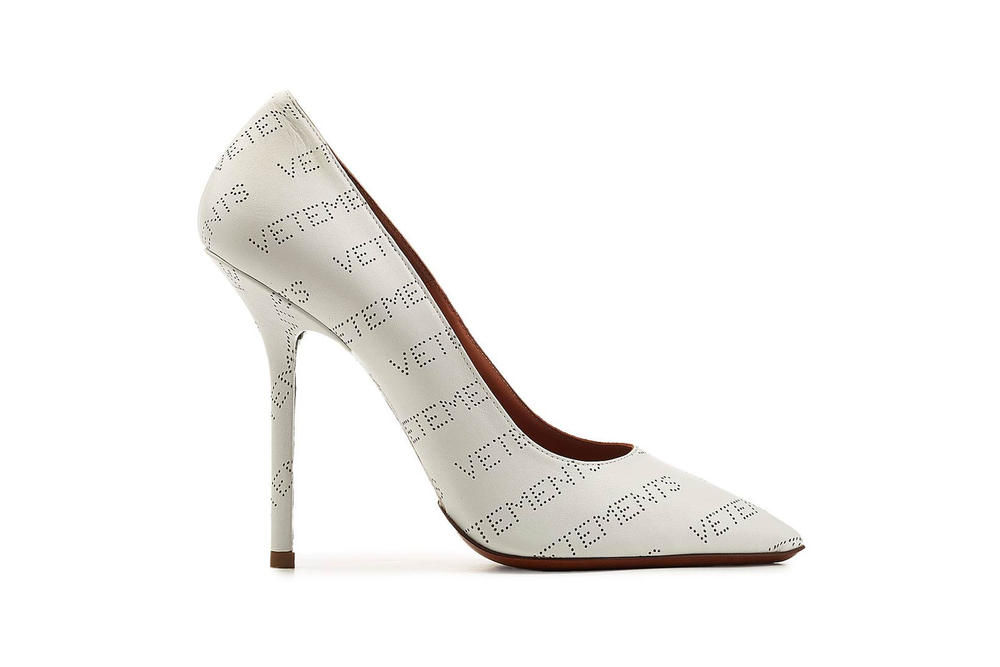 Vetements Perforated Logo Leather Pumps Heels White