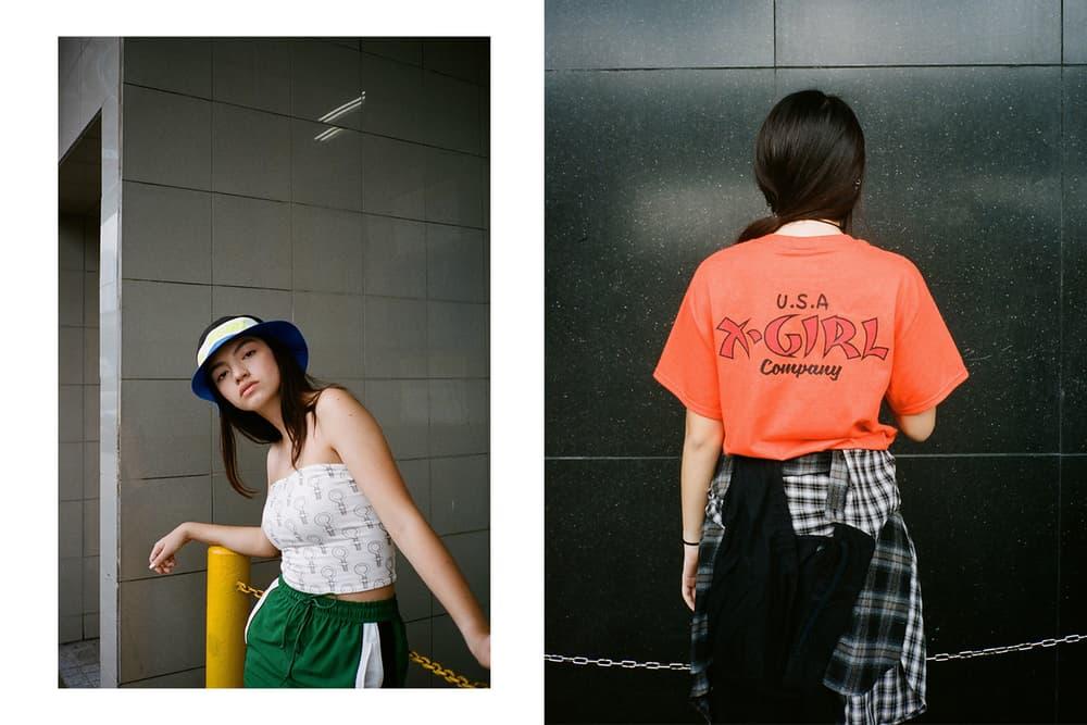X-Girl HBX Editorial Mesh Logo Hat Join Us Short Sleeve Big T-Shirt White Blue Orange
