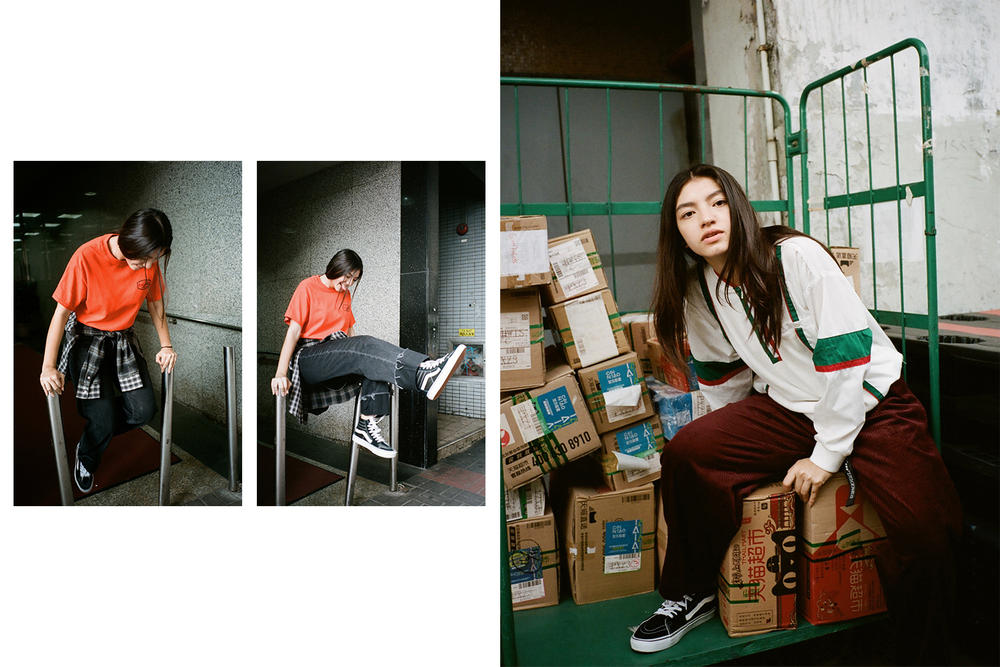 X-Girl HBX Editorial Join Us Short Sleeve Big T-Shirt Half Zip Pullover Orange White
