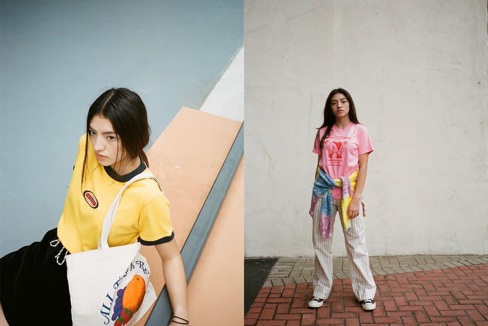 X-Girl HBX Editorial Oval Logo Ringer Short Sleeve T-Shirt Peach Short Sleeve Regular T-Shirt Yellow Pink