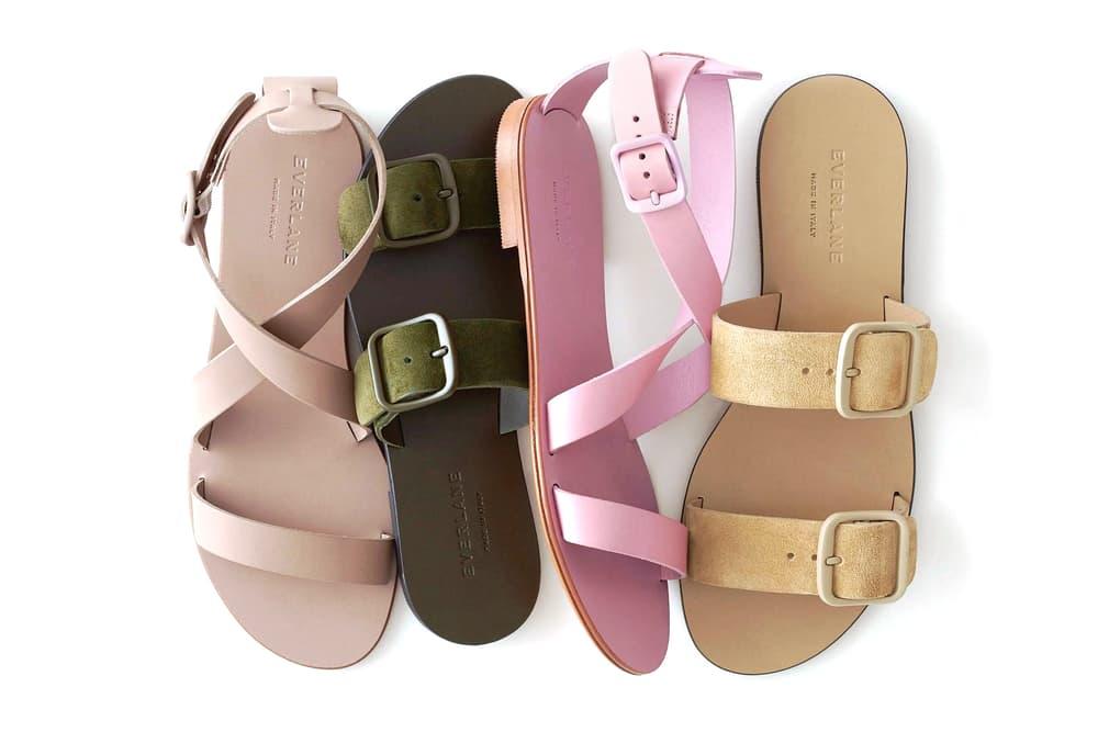 Everlane Modern Wrap Sandals Dark Green Sand Suede Dusty Pink Light Taupe Black