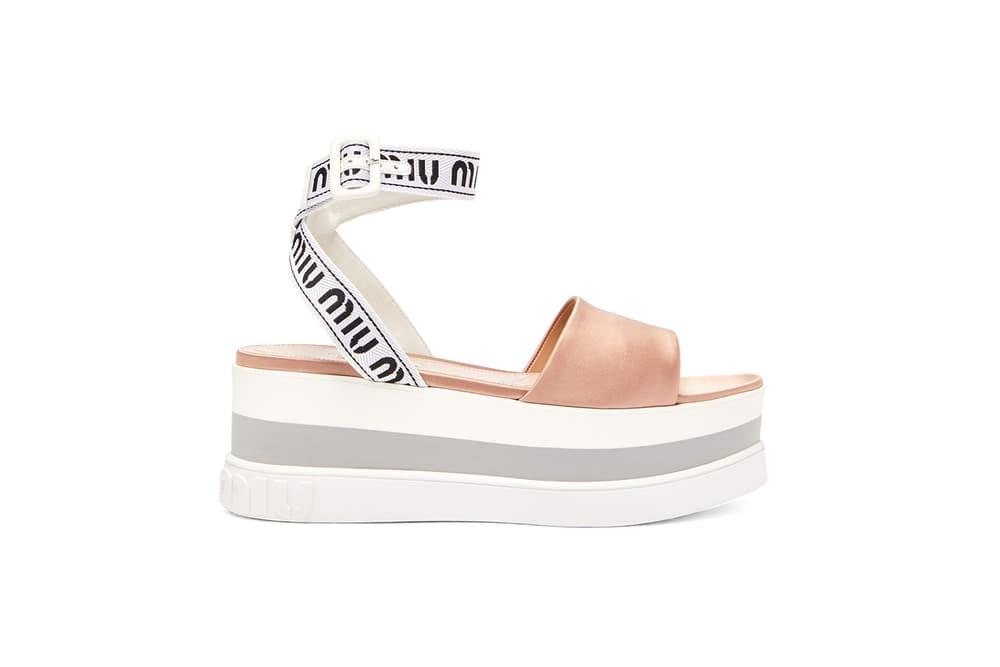 6faae36c49a Miu Miu Flatform Sandals Jacquard Satin Summer