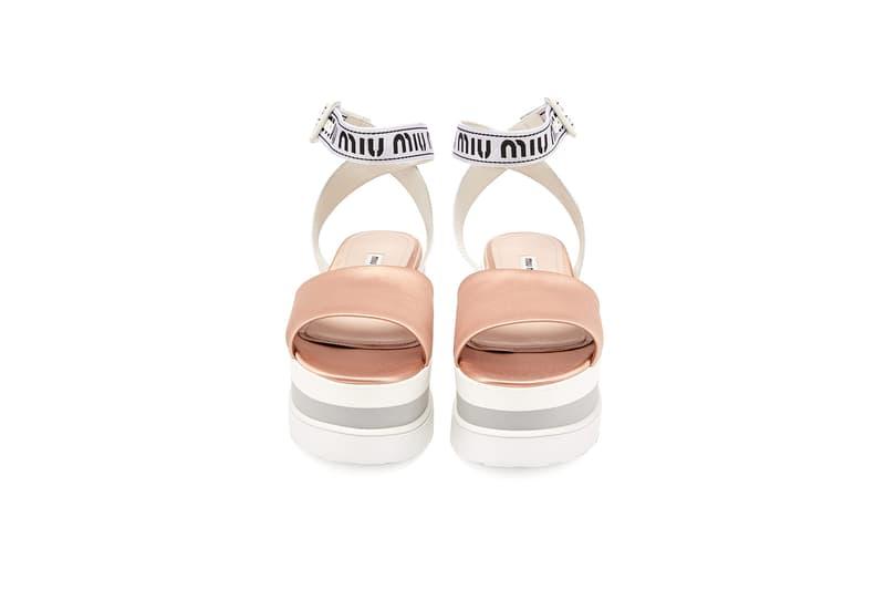 Miu Miu Flatform Sandals Jacquard Satin Summer