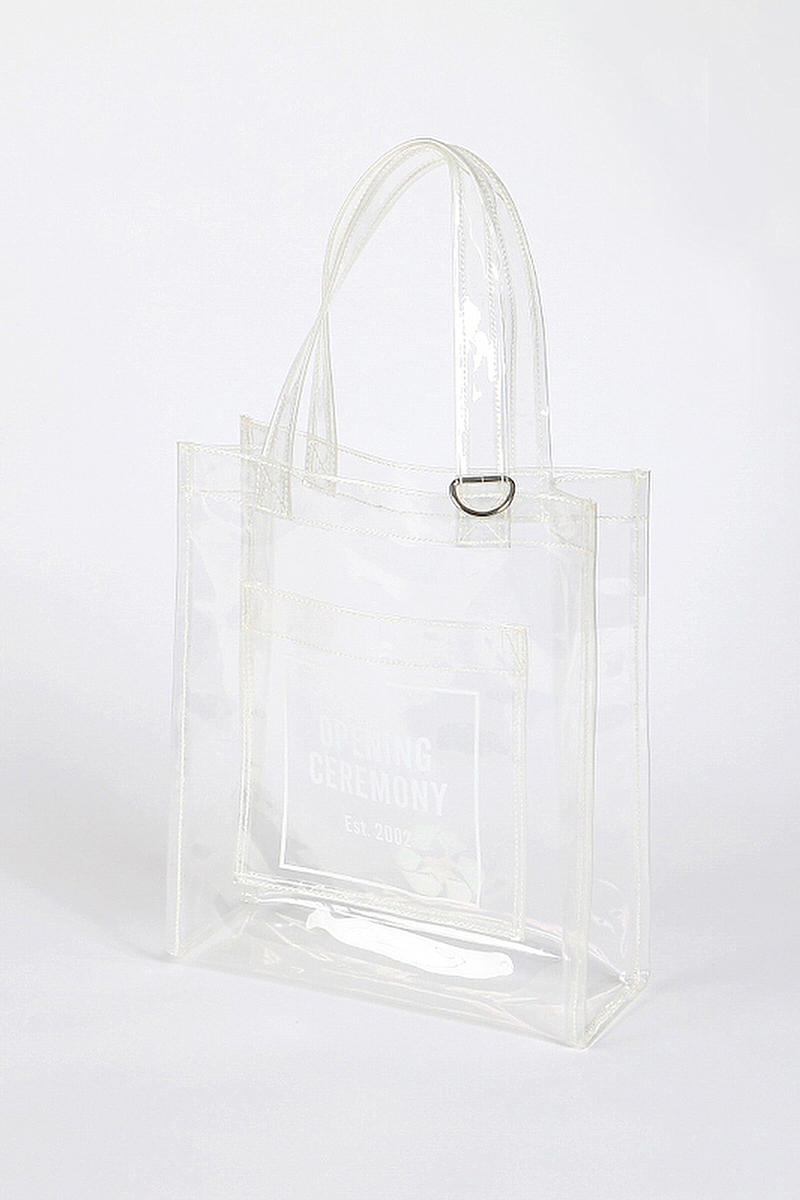 Opening Ceremony Mirror Tote Bags Pink Brown Lilac Translucent