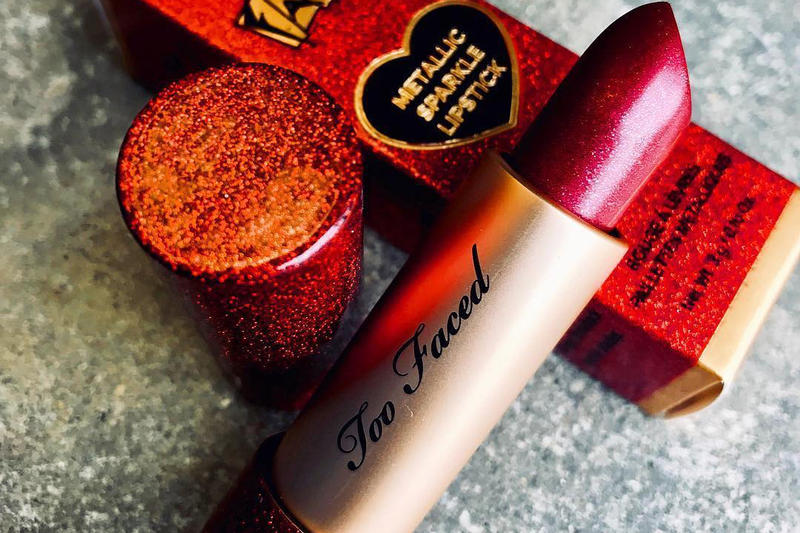 Too Faced Original Metallic Sparkle Lipstick 20th Celebration Red Color