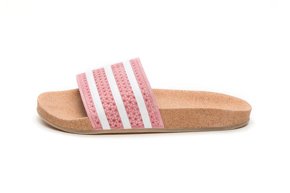 172885070e8475 adidas Adilette Cork Slides in Super Pop Pink