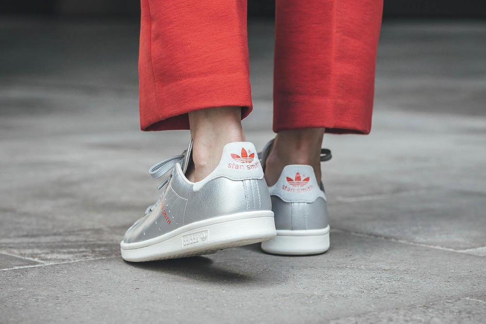 adidas Originals Shiny Metallic Silver Stan Smith Sneakers