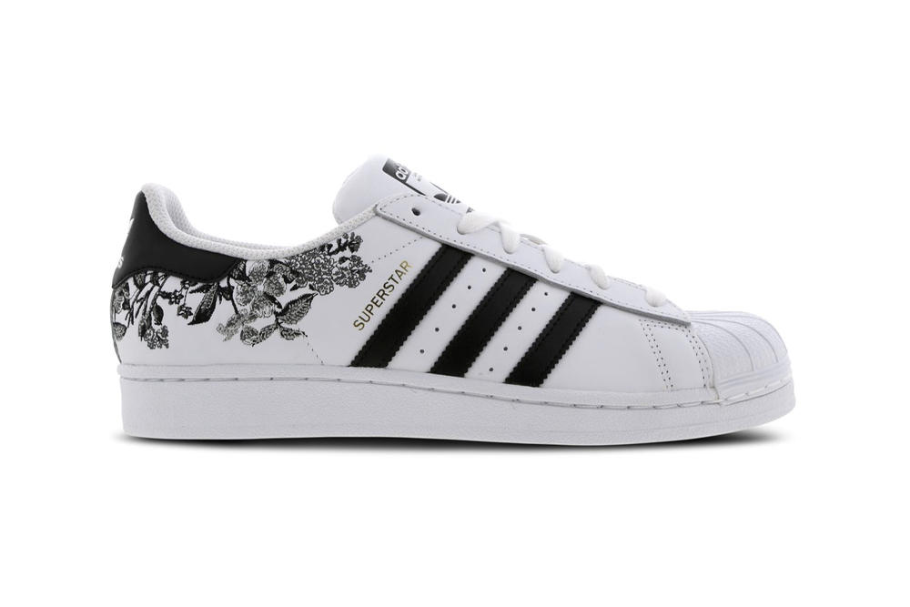 6558a209508 adidas Originals Floral Black and White Superstar 80s Sneakers