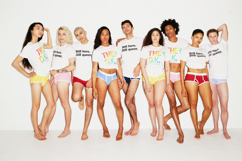 American Apparel Pride Capsule Collection They Okay Still Here Print 50/50 T-shirts White