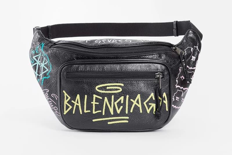 Balenciaga Graffiti Leather Fanny Pack Black