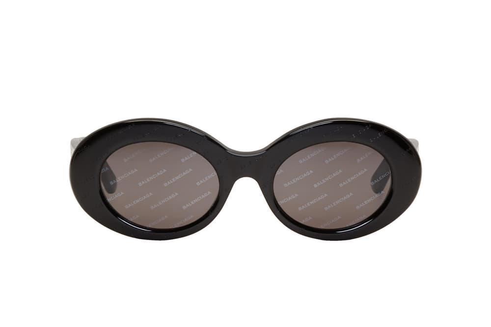 Balenciaga Black Logo Plastic Sunglasses Rounded Shades Frames