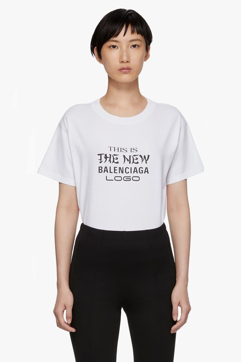 Balenciaga New Logo T-Shirt in White Demna Gvasalia Modern Font Black