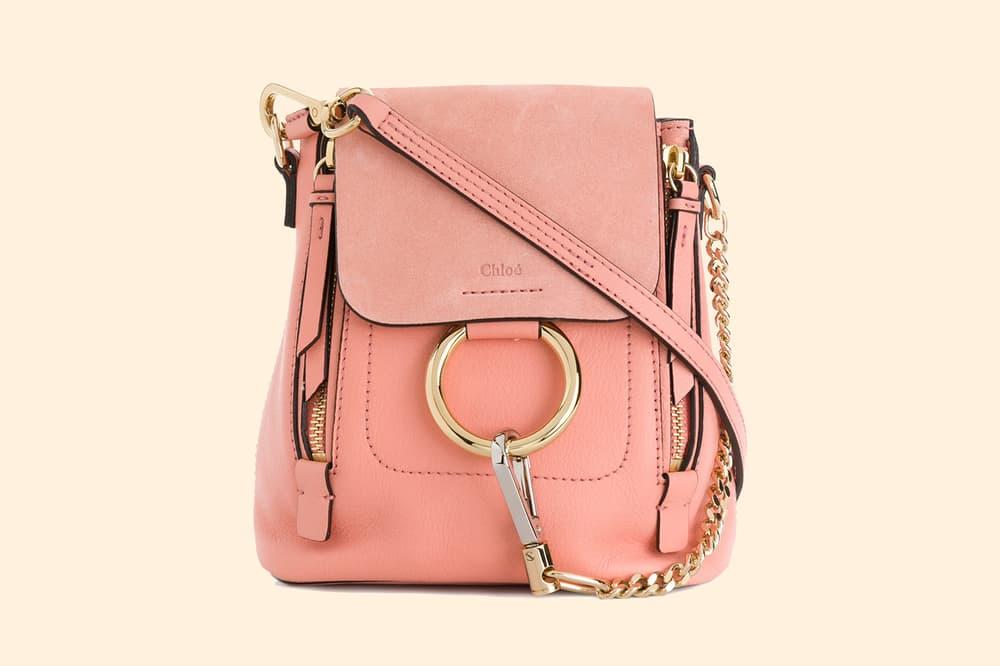 Chloe Faye Mini Backpack Pink Suede Leather